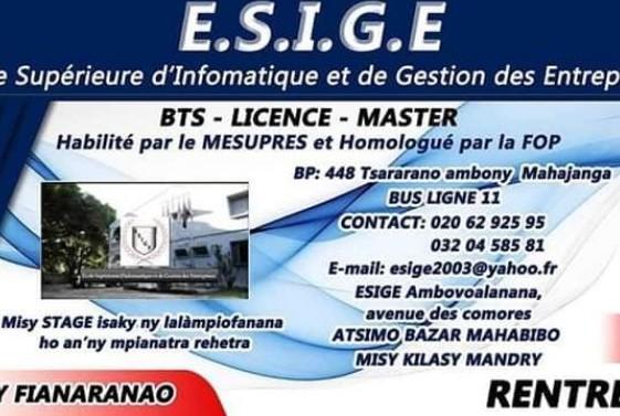 ESIGE Centre Formation Gestion Informatique Droit Commerce Tourisme Hôtellerie Majunga Madagascar