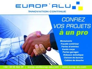 Europalu Société Fabrication Menuiserie Aluminium Antananarivo Mada